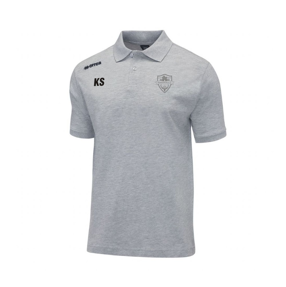 Windsor FC Team Colours Polo in Grey with Silver Badge