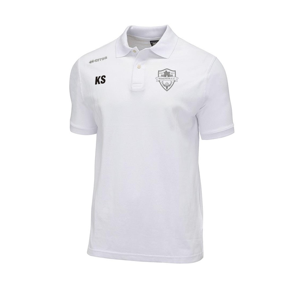 Windsor FC Team Colours Polo in White with Silver Badge
