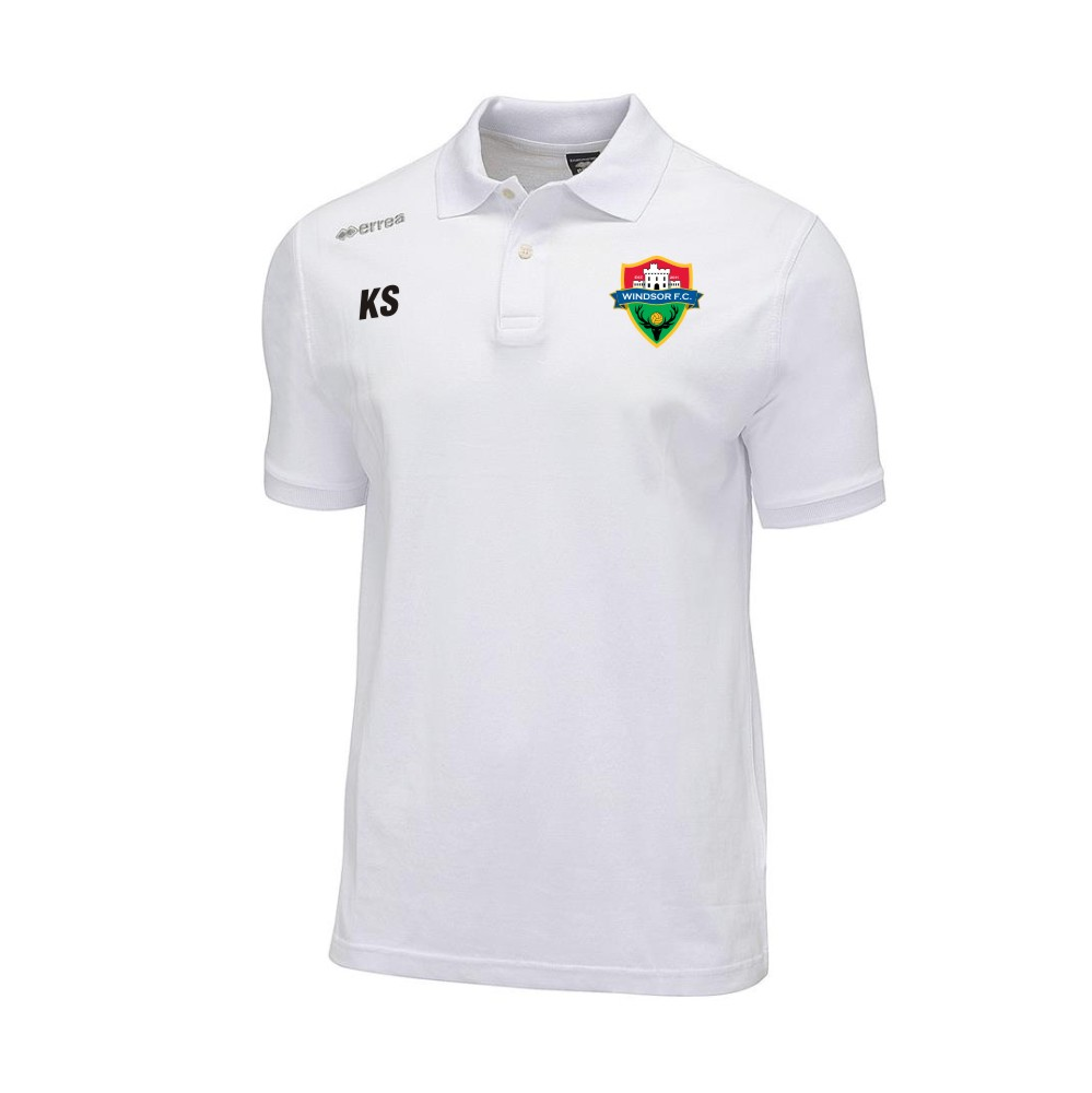 Windsor FC Team Colours Polo in White with Coloured Badge