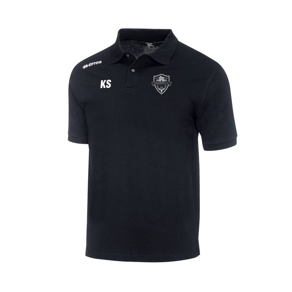 Windsor FC Team Colours Polo in Black with Silver Badge