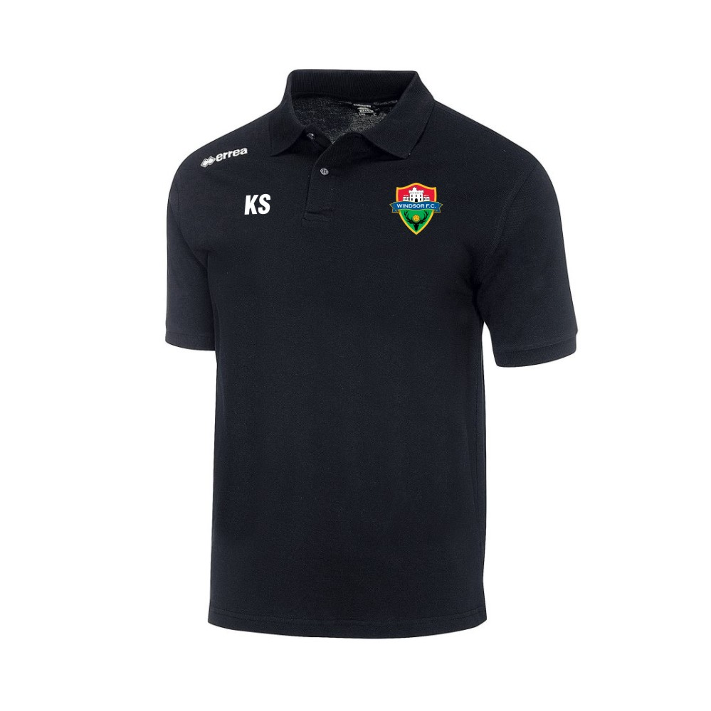 Windsor FC Team Colours Polo in Black with Coloured Badge