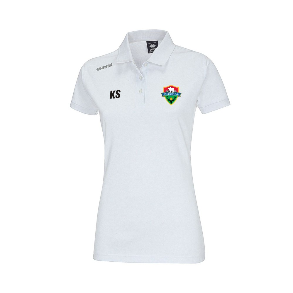 Windsor FC Ladies Team Polo in White with Coloured Badge
