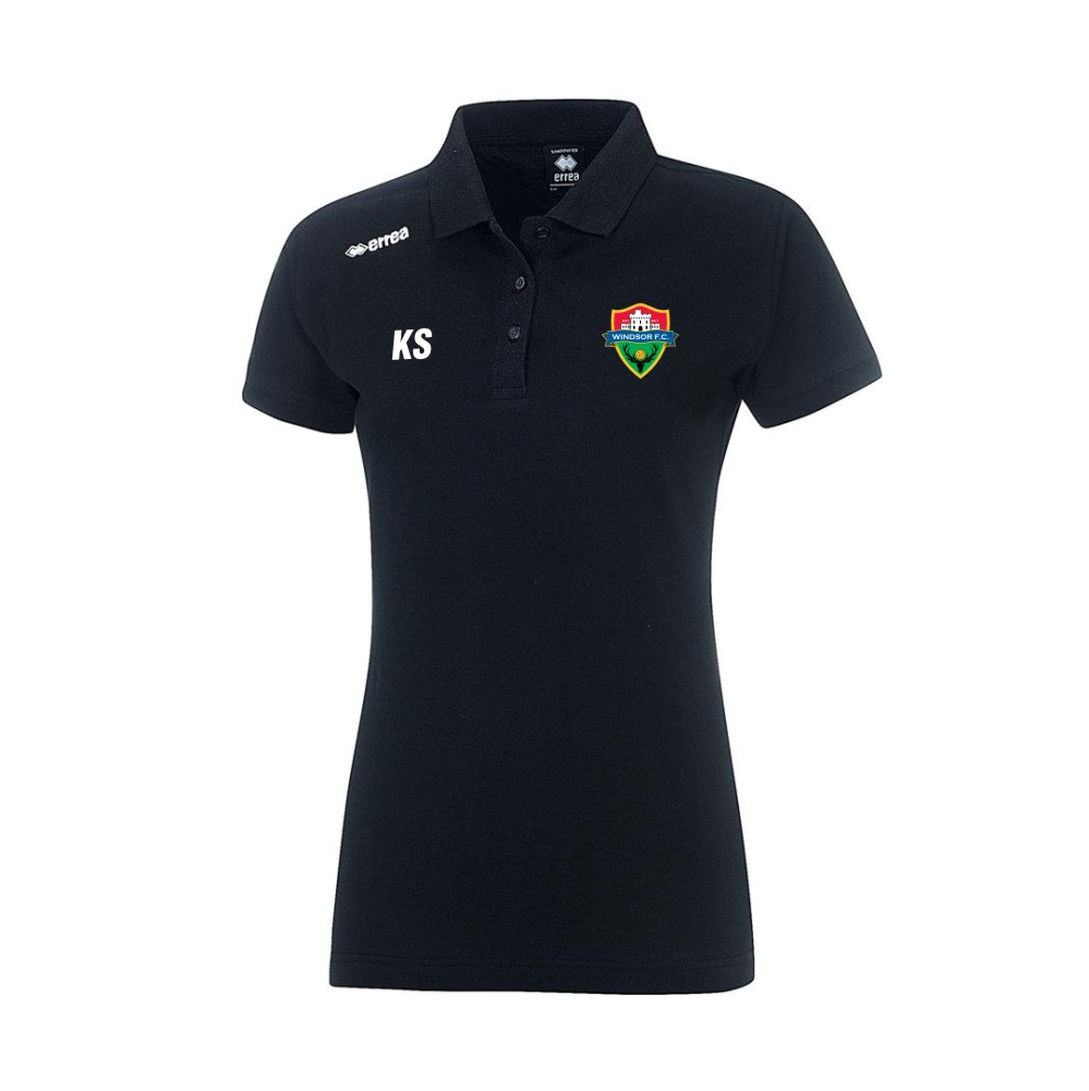 Windsor FC Ladies Team Polo in Black with Coloured Badge