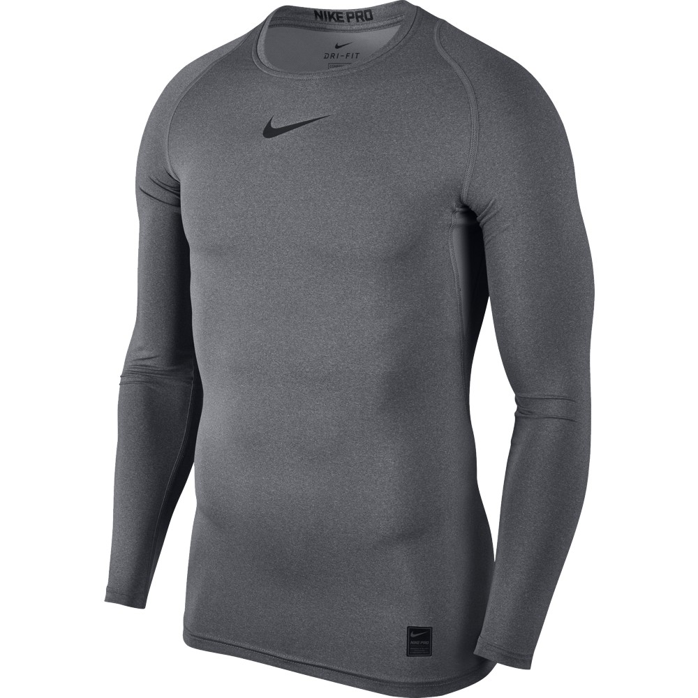 Nike Top Compression Crew Long Sleeve ADULT ONLY Carbon Heather/Black