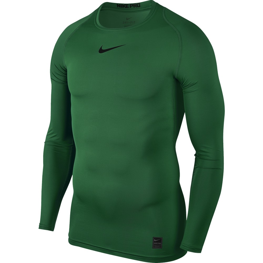 Nike Top Compression Crew Long Sleeve ADULT ONLY Pine Green/Black