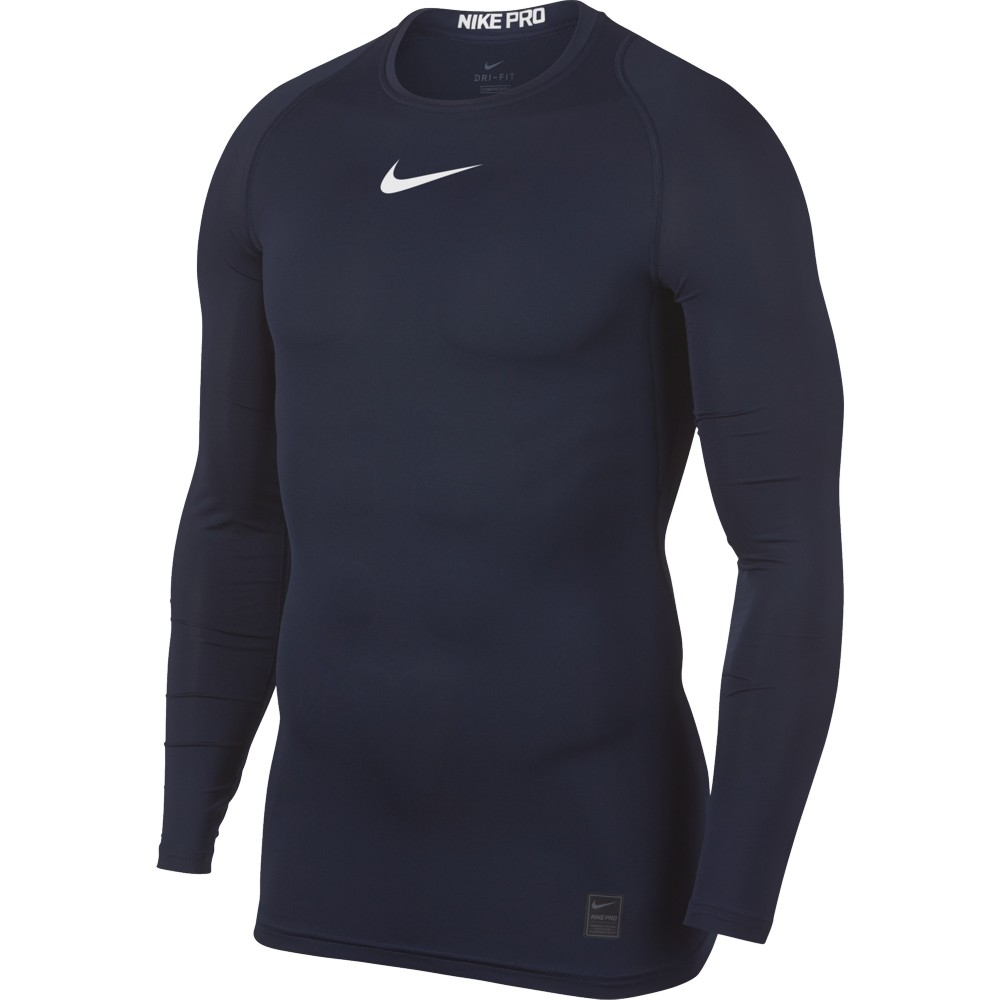 Nike Top Compression Crew Long Sleeve ADULT ONLY Obsidian/White