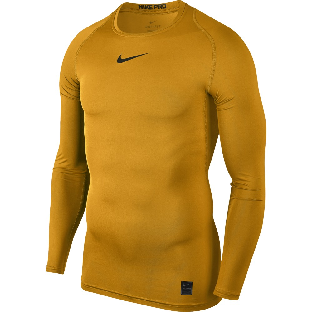 Nike Top Compression Crew Long Sleeve Adult Only University Gold Black Pro Combat Base Layer Sleeves