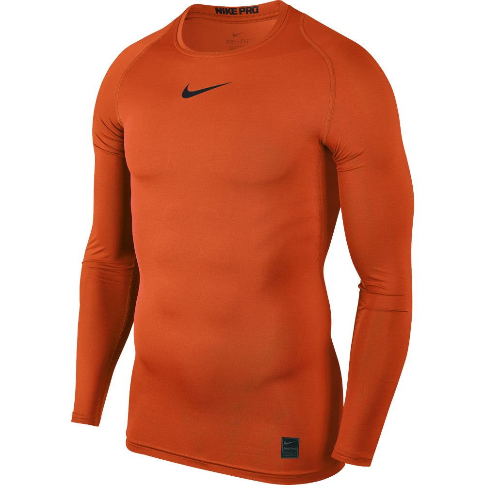 Nike Top Compression Crew Long Sleeve ADULT ONLY Safety Orange/Black