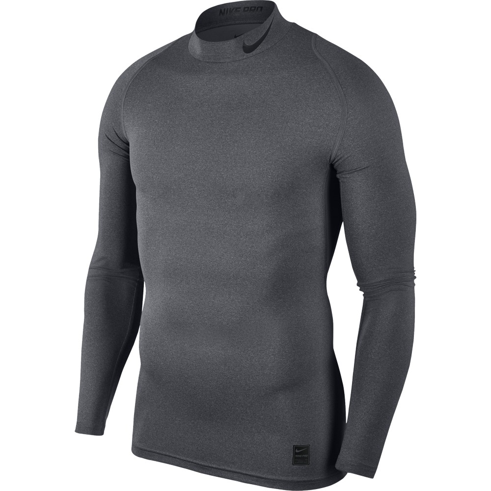 Nike Top Compression Mock Long Sleeve ADULT ONLY Carbon Heather/Black