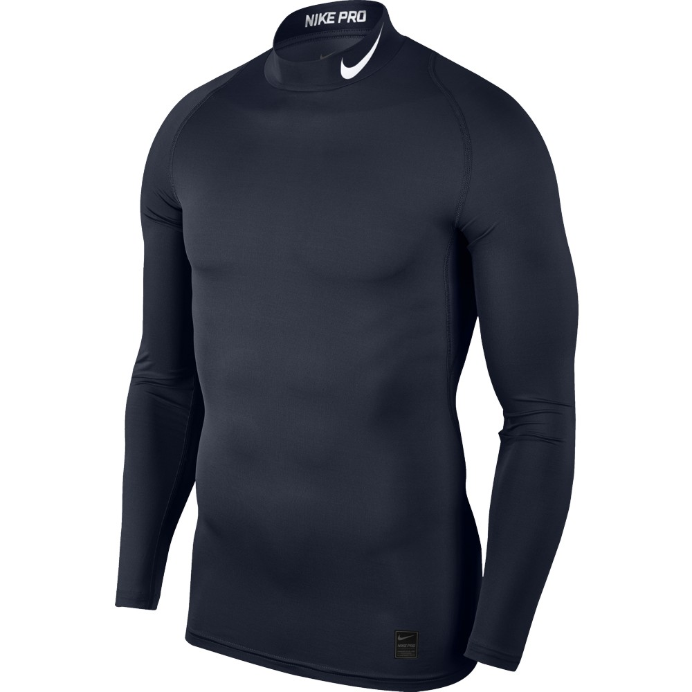 Nike Top Compression Mock Long Sleeve ADULT ONLY Obsidian/White